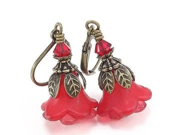 END Of SUMMER SALE Antique Brass Earrings - Lucite Ruby Red Trumpet Flowers