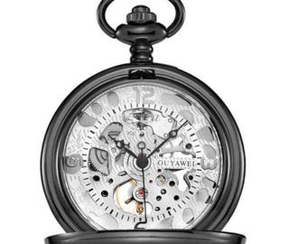 Mechanical Luxury Smooth Black Pocket Watch with White Dial