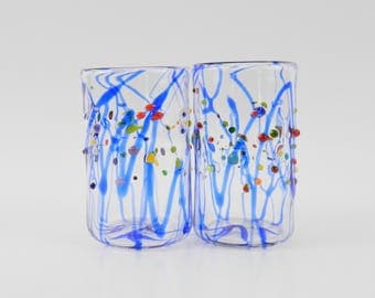 Hand Blown Glass Tumblers - Art Glass - High Ball