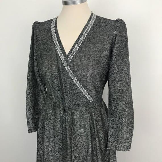 1970s Vintage dress silver maxi long sleeves A line flared dress Studio 54 boho hippie festival UK 12 sparkly 70s disco wedding V crossover