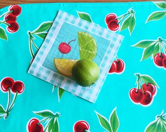Oilcloth Placemat Set - Aqua Cherries and Red Gingham Check Placemats