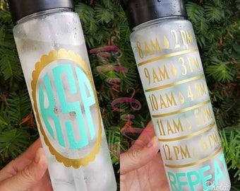 Monogram Motivational Water Tracker Bottle, Personalized Water Bottle, Gym Water Bottle, Fitness Water Bottle, Workout Water Bottle