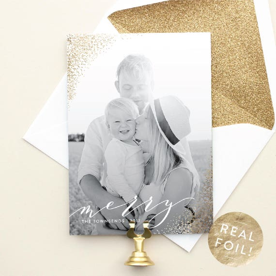 Christmas Cards with Vertical Photo, Gold Foil Christmas Photo Cards, Portrait Layout Holiday Cards with Foil Stamping | Sparkling Merry
