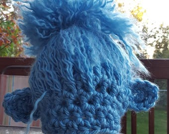 Crochet blue troll hat. Animal Hat. Made by Bead gs on etsy. Fits 1 to 3 years old.