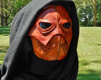 Leather Mask Steampunk Aether Apocalyptic Pumpkin Brown Halloween Psycho Monster Hunter Cosplay Scarface LARP Sci Fi Dystopia Rising