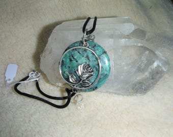 Green Jasper Rose Pendant