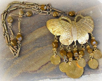 Butterfly Necklace, Boho Chic, Bohemian Style, Hippie, Brass, Faux Tiger Eye, Coin Dangles, Vintage Jewelry