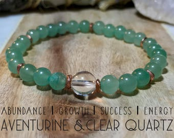 Aventurine and Clear Quartz bracelete. Inspires abundance, growth, success, and energy.