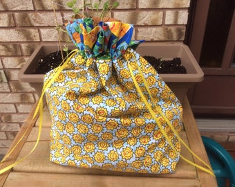 Large Knit or Crochet Project bags - Sunshine print