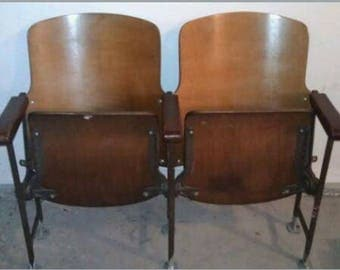 Vintage Two Wooden Movie Theater Theatre Auditorium Seats Chairs 1930s