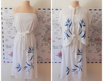 Vintage 70s White Blue Pearl Floral Disco Dress Set Large XLarge