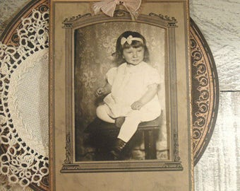 Vintage / Antique Photograph of Little Girl / Cabinet Photo / Paper Ephemera / Mixed Media / Blogging