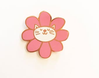 Enamel Pin Cat, Cat Enamel Pin, Cat Gift, Enamel Pin, Cat Pin, Flower Pin, Cat Lover Gift