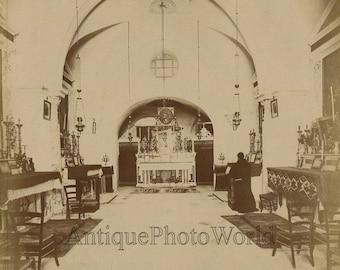 Jerusalem monk praying in church antique albumen photo