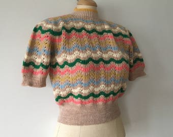 Land Girl, Hand knit, Vintage 1940's, Wool Sweater, Jumper, Pointelle Lacy Design.