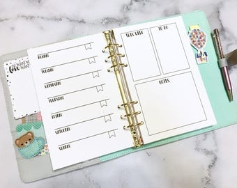 Printed - PERSONAL WEEKLY INSERTS - Week on One Page - Planner inserts for Medium/Personal Planners Filofax or personal Kikki K
