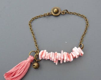 Pink Pearl bracelet on chain with pink tassel and Bell