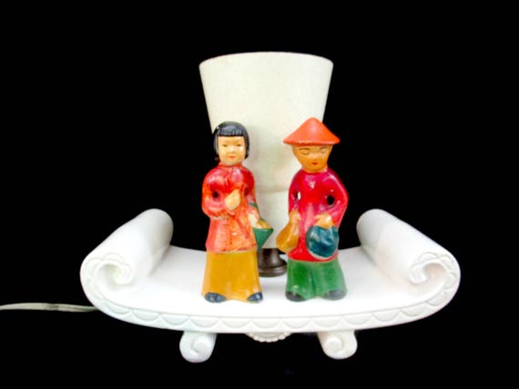 Mid Century TV Lamp, Asian Children TV Lamp, Cone Shade, Asian Boy and Girl, Accent Lamp, White Base, Mid Century Decor