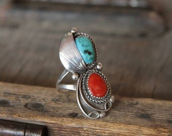 Huge Vintage Old Pawn Navajo Coral and Turquoise Sterling Silver Ring 9