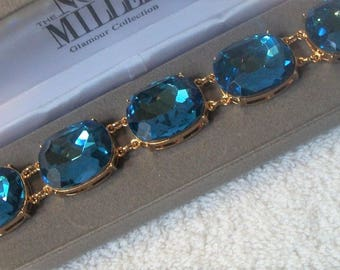 Nolan Miller Aqua Blue Statement Bracelet - Gold Plated with Huge Faceted Stones - Sz 7 - S2143