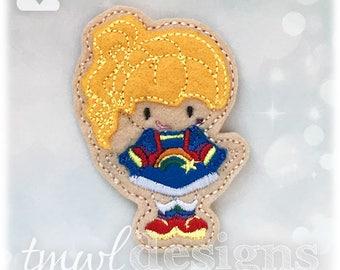 Space Rainbow Girl Doll Feltie Digital Design File - blue, white, pink, black