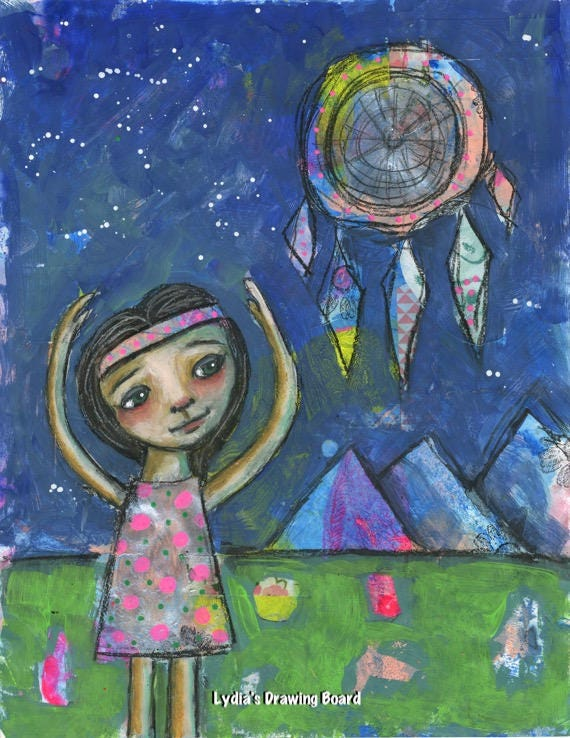 Girl Art, Night Sky, Girls Room Decor, Dreamcatcher, Girls Room Art, Girls Room Wall Art, Whimsical Art, Mixed Media Print, Dream Catcher