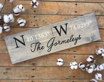SEMI CUSTOM-Hand painted custom coordinate sign | wedding gift | anniversary gift | coordinates | custom painted wood sign