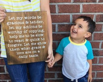Motherhood Prayer | Motherhood Sign | Wood Sign | Hand Painted