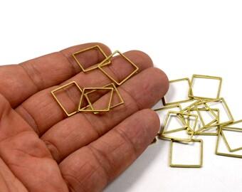 125 Pcs. Raw Brass 15x15 mm Geometric Square Circle Findings