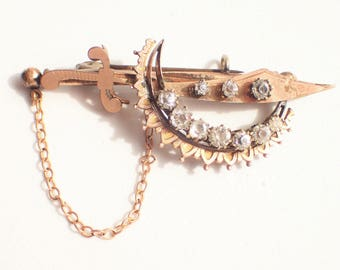 Victorian Rolled Gold Sword Scimitar and Crescent Rhinestone Brooch