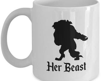Disney Her Beast Gift Mug His Belle Beauty and the Beast Coffee Cup Couple Love Gifts