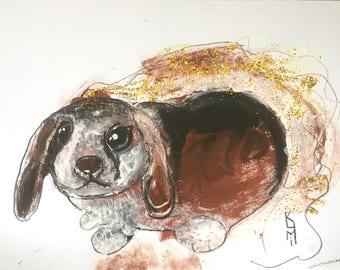 "Bunny Painting A4 Size Animal Art For Sale Buy Art on Paper Beautiful Gift Ideas Animal Portraits UK Art Acrylic Painting Original 8""x12"""