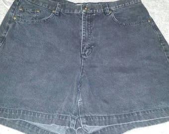 Vintage Liz Claiborne Lizwear High Waisted Black Denim Shorts Size 14
