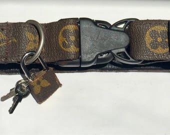 "Louis Vuitton Dog Collars Adjustable 8-15"" long 1"" 2.5cm wide Repurposed real Vintage LV Monogram"