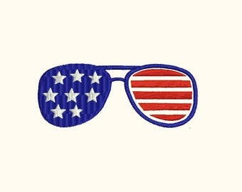 USA America Merica Sunglasses Machine Embroidery Designs - Instant Download Filled Stitches Embroidery Design 325 B