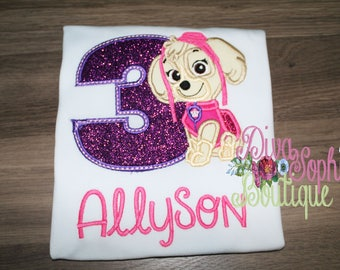 Paw Patrol Skye Birthday Personalized Bodysuit - T-shirt - Embroidered