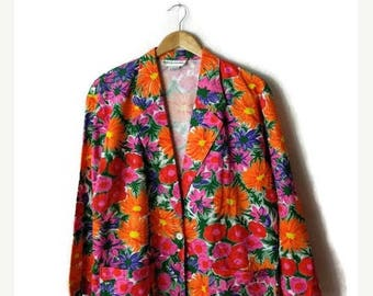ON SALE Vintage Colorful Floral Printed Cotton Blazer/Light Jacket from 1980's*