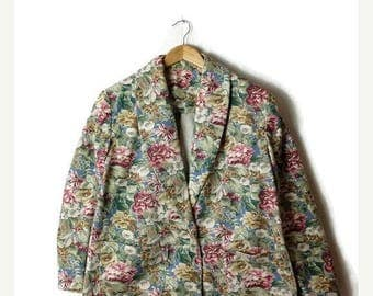 ON SALE Vintage Oversized Floral  Printed Cotton Blazer Jacket from 1980's*