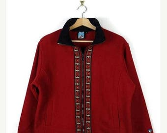 ON SALE Vintage Red x Embroideries Trim Wool Zip up Jacket from 80's*