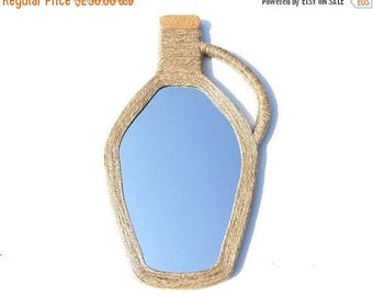 ON SALE 33 % DECORATIVE Wall Mirror, Demijohn Wine Bottle shaped Mirror, Hemp Rope Mirror, Large Wall Mirror, Home Decor, Rustic Wine Cabine