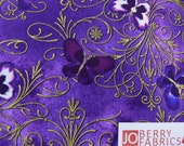 Butterflies from the Pansy Noir Collection by Greta Lynn for Kanvas with Benartex, Fabric by the Yard, JoBerry Fabrics.