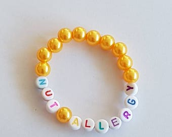 Childs Nut Allergy Medical ID Bracelet, Nut Allergy  Alert Bracelet, Childs and Adult Alert Bracelet