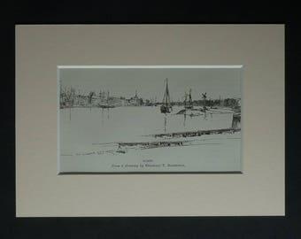 1880s Antique Dordrecht Print, Dutch Gift, Available Framed, Holland Art, Netherlands Picture, Dordt Harbor, Dort Illustration, Drechtsteden