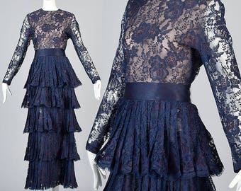 Medium Scaasi Long Sleeve Lace Dress Navy Blue Formal Gown Illusion Bodice Modest Prom Dress Layered Ruffle Skirt Vintage 1970s