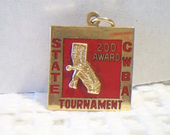 Red CWBA State Tournament Pin Pendant Bowling 500 Award Gold Tone