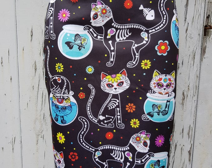 Candy Skull Cat Pencil Skirt - Size 8 10 12 14 - Bodycon Wiggle Skeleton Halloween Cute