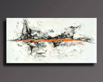 "48"" ORIGINAL ABSTRACT Painting Black White Gray Orange Painting on Canvas Contemporary Abstract Modern Fine Art - Unstretched - ABF38i3"