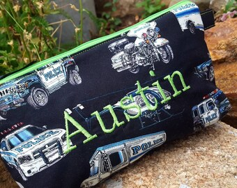 Police Car Pencil Case, Personalized School Supply Bag