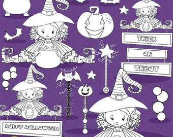 80% OFF SALE Halloween witches digital stamp commercial use, vector graphics, digital stamp, stamps - DS1003