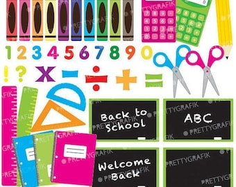 80% OFF SALE School supplies clipart commercial use, vector graphics, digital clip art, digital images  - CL549